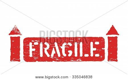 Fragile Isolated Grunge Inky Box Sign For Cargo, Delivery And Logistics