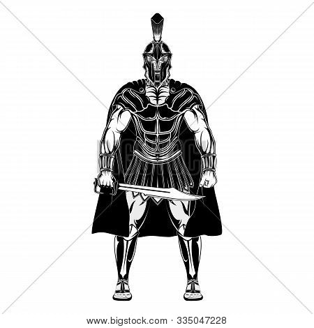 Angry Spartan Hero With Sword. A Mighty Greek Warrior. King Leonidas. God Of War Ares. Vector Illust