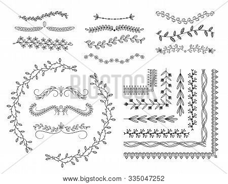 Line Borders, Doodle Dividers Design Elements Doodle Vector Set