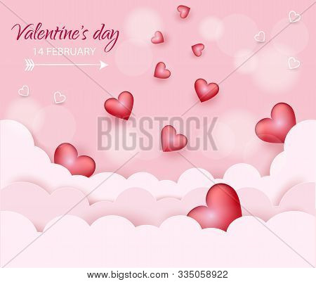 Happy valentines day postcard, hearts in the clouds VECTOR. Valentine, valentine day, Valentines Day background, Valentine's day banners, Valentines Day flyer, Valentines Day design, Valentines Day with Heart on pink background, Copy space text area, vect
