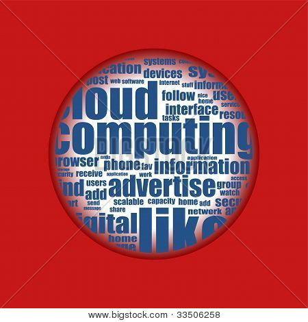 Red Background With Cloud Of Social Media Words