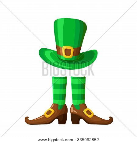 Saint Patricks Day Cartoon Bowler Hat, Boots And Long Green Striped Ctockings, Traditional Symbols A