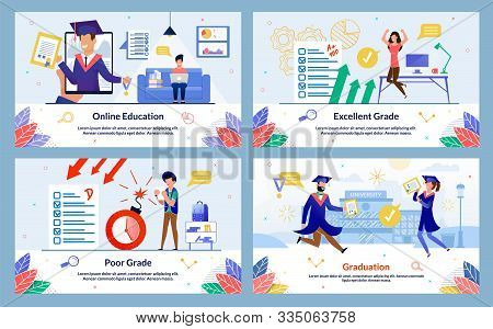 Banner Inscription Online Education, Poor Grade. Excellent Grade, Graduation. Guy Sitting On Couch A