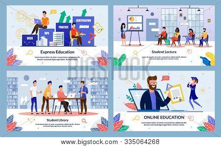 Set Written By Student Lecture, Express Education. Banner Student Library, Online Education. Student