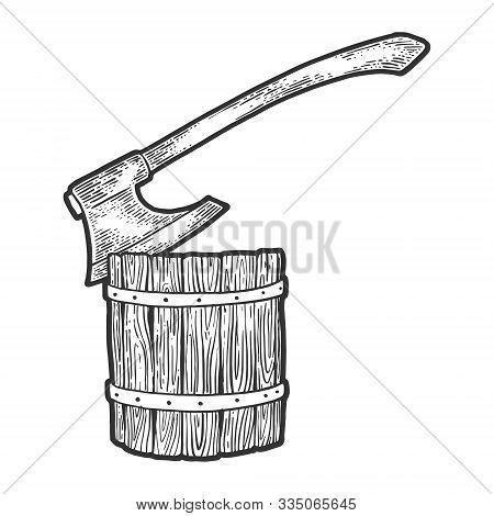 Executioner Ax Stuck In Log Sketch Engraving Vector Illustration. T-shirt Apparel Print Design. Scra