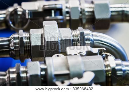 fittings and valve, pipes and adapters. Plumbing fixtures poster