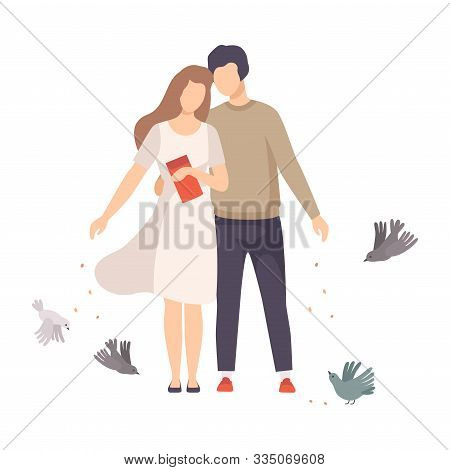 Young Couple Walking Along The Park And Feeding Pigeons With Crumbles Vector Illustration