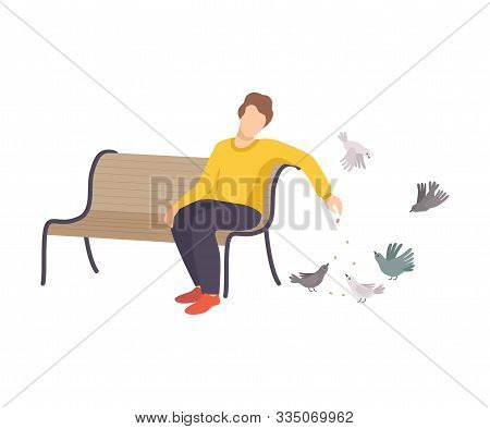 Young Man Wearing Sweater And Sitting On Bench Feeding Pigeons Dropping Crumbles On The Ground Vecto