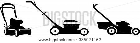 Lawn Mower Icon On White Background  Machinery, Maintenance