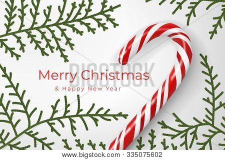 Merry Christmas And Happy New Year. Christmas Mood Concept. Layout Composition With Festive Attribut