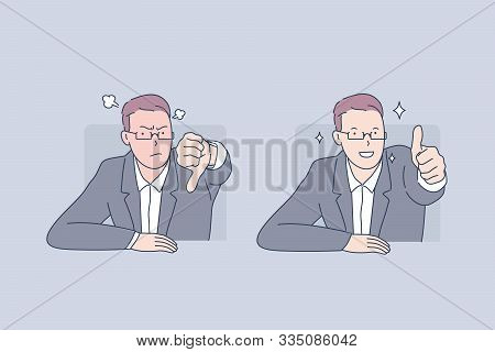 Positive And Negative Emotion, Failure And Success, Bad And Good Mood Concept. Male Office Worker Ke