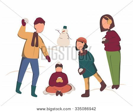 Happy Family Throwing Snowballs - Cartoon People Characters Flat Vector Illustration On White Backgr