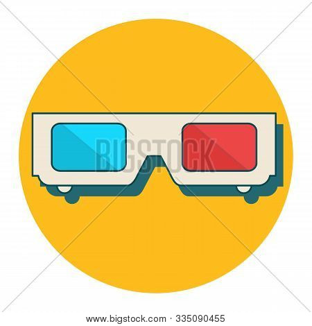 3d Glasses Vector Illustration Of Flat. A Pair Of 3d Glasses Isolated On A Colored Background. Desig