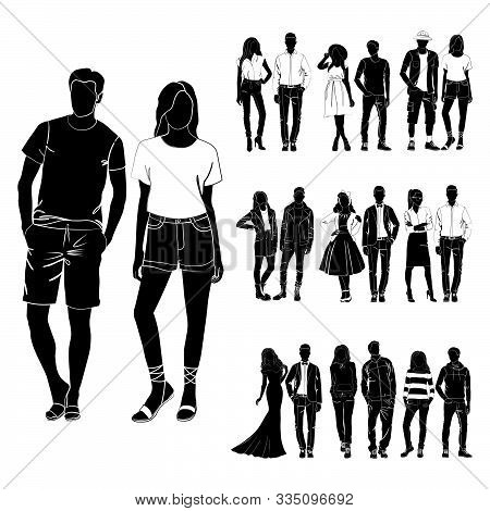 Set Of Trendy Guys And Girls Vector. Fashionable Man And Woman Vector. Fashionable Young Couples. Fa