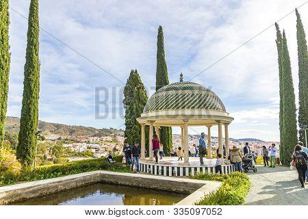 Malaga, Spain - Dec 10, 2017: Mirador, Historic Viewpoint And Symbol Of Botanical Garden (jardin Bot