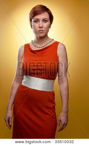 Woman In Orange Retro Dress