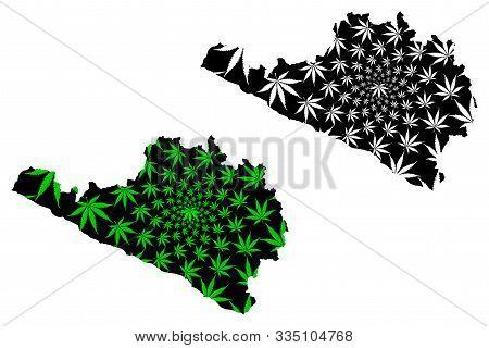 Department Of Arequipa (republic Of Peru, Regions Of Peru) Map Is Designed Cannabis Leaf Green And B