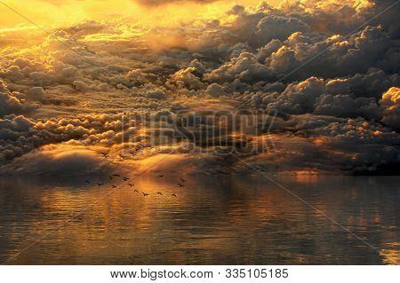 Fantasy Scenic Clouds In Sunlight. A Mystical Landscape.