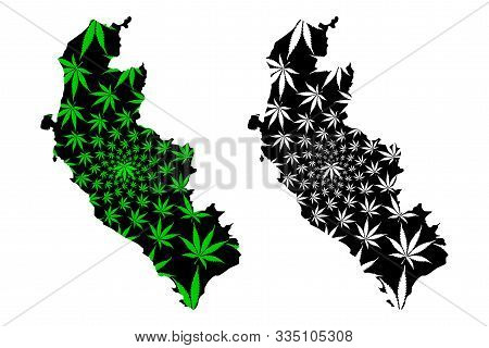 Department Of Ica (republic Of Peru, Regions Of Peru) Map Is Designed Cannabis Leaf Green And Black,