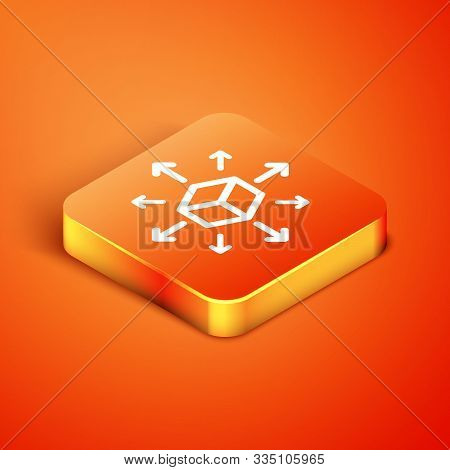 Isometric Distribution Icon Isolated On Orange Background. Content Distribution Concept. Vector Illu