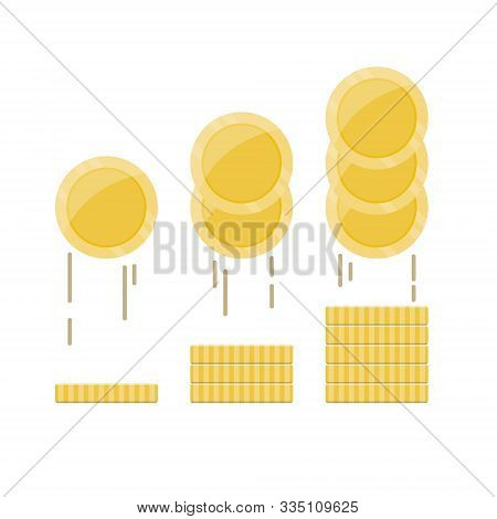 Gold Coin Stack In Flat Style. Financial Investment Concept, Deposits Profit, Business Income Earnin