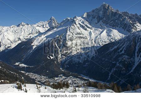 winterly valley of Chamonix