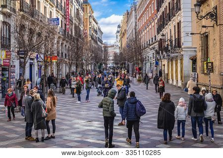 Madrid, Spain - January 23, 2019: People On Arenal Pedestrian Street In Madrid City