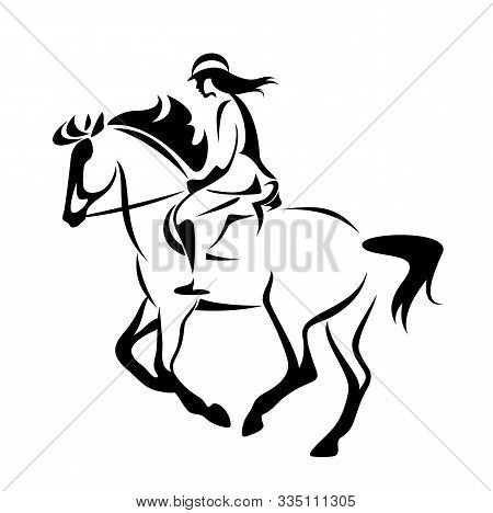 Woman Riding Horse In Equine Sport Competition - Black And White Vector Rider Outline