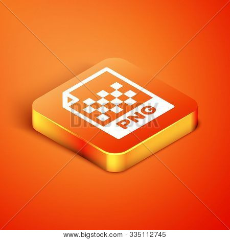 Isometric Png File Document. Download Png Button Icon Isolated On Orange Background. Png File Symbol