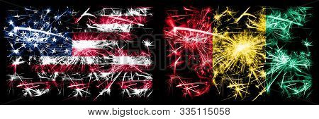 United States Of America, Usa Vs Guinea, Guinean New Year Celebration Sparkling Fireworks Flags Conc