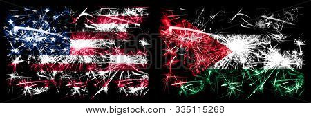 United States Of America, Usa Vs Jordan, Jordanian New Year Celebration Sparkling Fireworks Flags Co