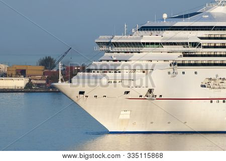 The Cruise Ship Entering Nassau Harbour In The Morning Before Getting Moored In Nassau Downtown (bah