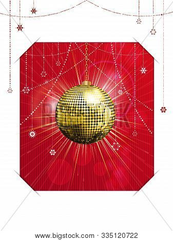 Christmas Card With Golden Disco Ball Festive Decorations Over Red Textured Background Hold Into Whi