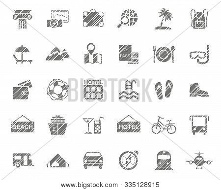 Travel, Vacation, Tourism, Vacation, Icons, Pencil Shading, Monochrome, Vector. Different Types Of H