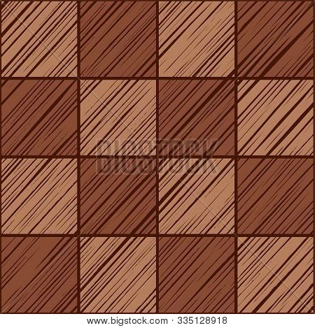 Tile Square, Seamless Background, Vector, Brown.  Squares Diagonally Shaded In Brown On A Dark Brown