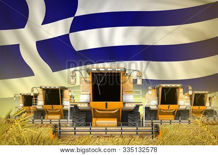 Many Yellow Farming Combine Harvesters On Rural Field With Greece Flag Background - Front View, Stop