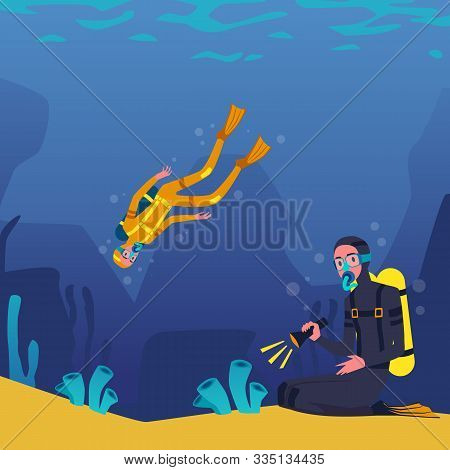 Divers Characters Swimming And Plunging Underwater, Flat Vector Illustration.