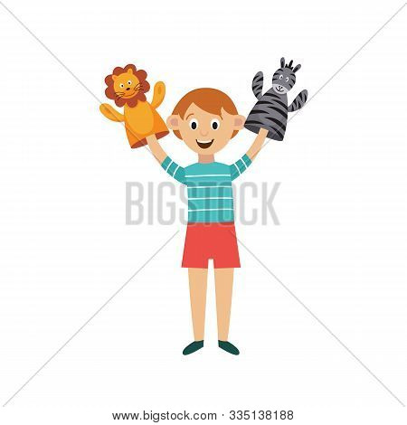 Child Performs Puppet-show With Hands Puppets, Flat Vector Illustration Isolated.