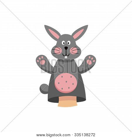 Cute Rabbit Hands Toy Or Puppet For Theater, Flat Vector Illustration Isolated.