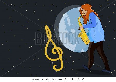 Girl Musician Playing The Saxophone. Jazz Musical Style. Music Creative Concept. Jazz Singer, Concer