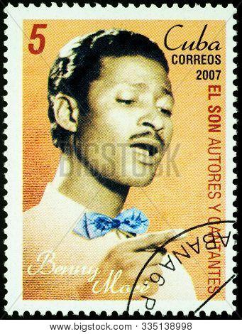 Moscow, Russia - November 22, 2019: Stamp Printed In Cuba Shows Bartolome Maximiliano More (benny Mo