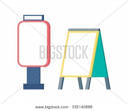 Empty Billboard And Ad, Design Of Standing Cleaner Broadsheet, Vertical View Of Advertising Board. I