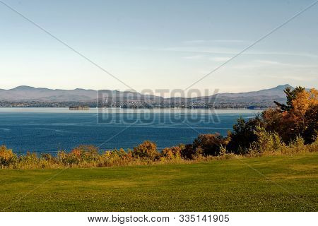 Lake Champlain With Burlington Vermont State In Background In Late Fall