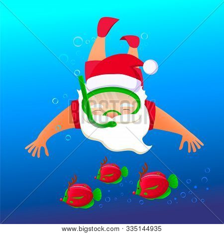 Santa Claus In Snorkeling Mask And Red Christmas Santa Hat Under Water With Colorful Reindeer Fish.