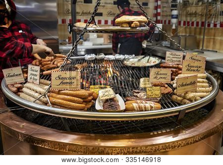 Paris, France - December 21, 2018: Tasty Treats In Traditional Stalls At The Tuileries Garden Christ