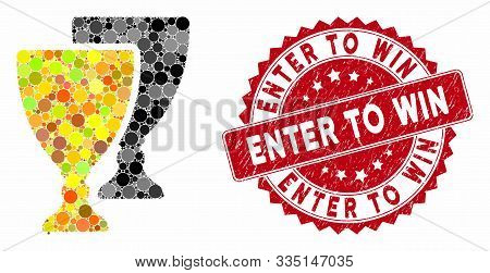Mosaic Award Cups And Grunge Stamp Seal With Enter To Win Caption. Mosaic Vector Is Created With Awa