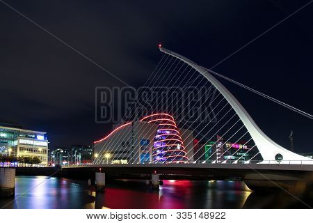 Dublin, Ireland - September 09. 2018: Samuel Beckett Bridge Or Harp Bridge -a Cable-stayed Bridge By