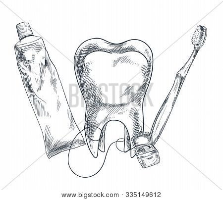 Hand Drawn Molar, Toothpaste, Toothbrush And Floss