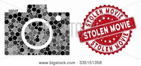 Mosaic Camera And Grunge Stamp Seal With Stolen Movie Caption. Mosaic Vector Is Created With Camera