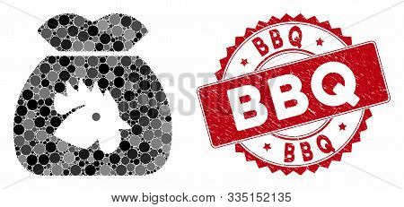 Mosaic Chicken Food Sack And Grunge Stamp Seal With Bbq Phrase. Mosaic Vector Is Created From Chicke